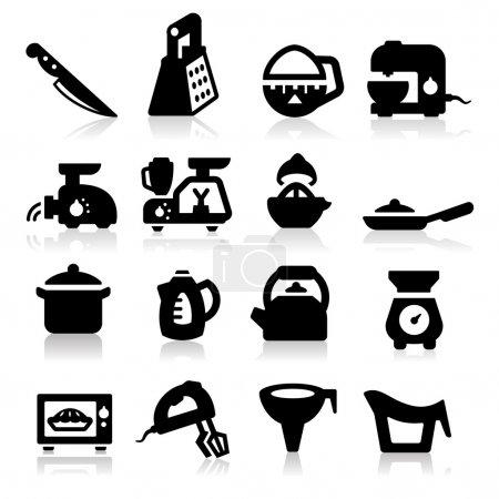 Illustration for Kitchen utensil icons set - Royalty Free Image