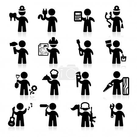 Illustration pour Emploi icônes set Série élégante - image libre de droit