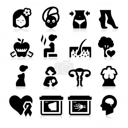 Foto de Iconos de cuidado de la salud de las mujeres - Imagen libre de derechos