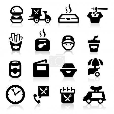Illustration pour Fast food icônes définies élégante série - image libre de droit