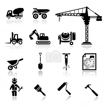 Illustration pour Icônes ensemble constructio - image libre de droit