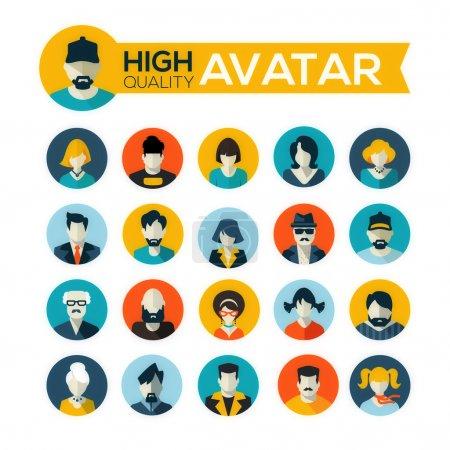 jeu de 20 icônes avatars design plat, pour une utilisation dans les applications mobiles
