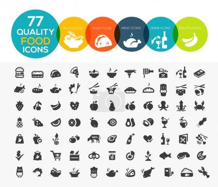 Photo pour 77 icônes alimentaires de haute qualité, y compris la viande, les légumes, les fruits, les fruits de mer, les desserts, les boissons, les produits laitiers et plus - image libre de droit