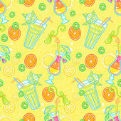 Summer seamless pattern background with cocktails Alcohol endless tiling texture