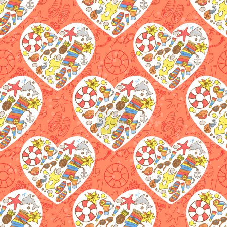 Summer beach heart pattern
