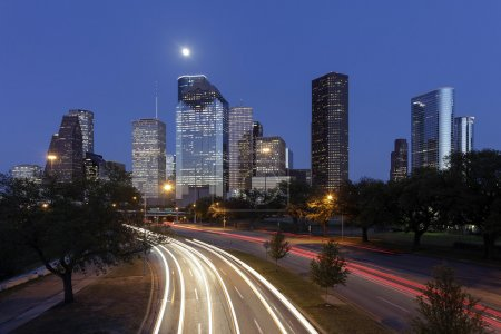 Photo for Houston Skyline at Night with Moving Traffic, Texas, USA - Royalty Free Image