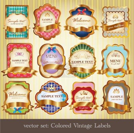 Ilustración de Conjunto de etiquetas de colores vintage - Imagen libre de derechos