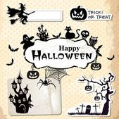 Collection of vector grunge halloween labels stickers and icons