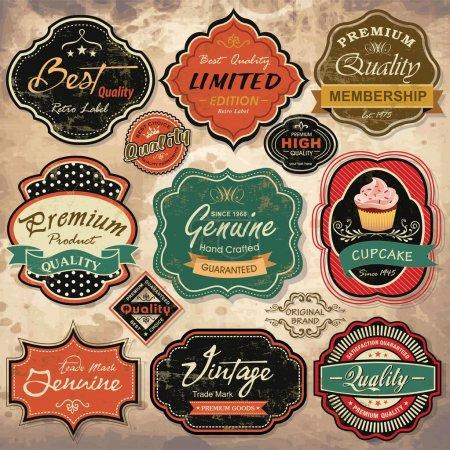 Illustration pour Collection d'étiquettes de grunge rétro vintage, des écussons et des icônes - image libre de droit