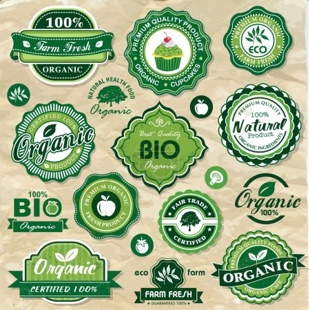 Illustration for Collection of vintage retro grunge bio and eco organic labels natural products - Royalty Free Image
