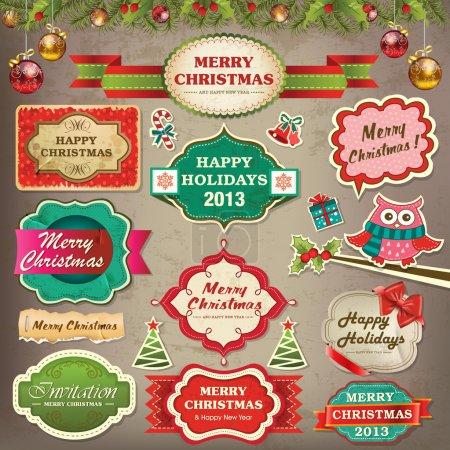 Ilustración de Colección de adornos navideños y elementos decorativos, cuadros antiguos, etiquetas, pegatinas y cintas - Imagen libre de derechos