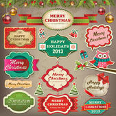Collection of christmas ornaments and decorative elements vintage frames labels stickers and ribbons