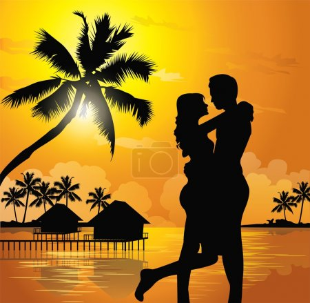 Illustration for Romantic couple on the beach - Royalty Free Image