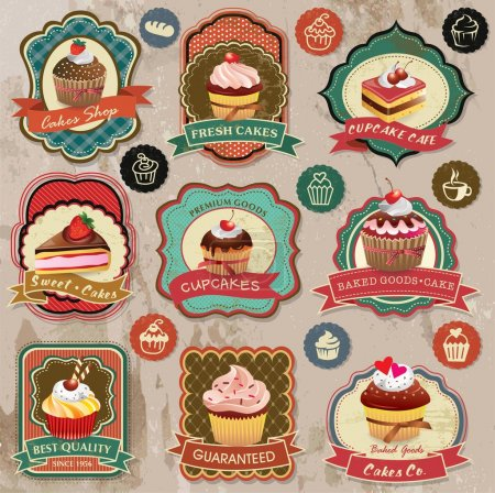 Collection of vintage retro various cupcakes labels, badges and icons