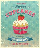 Retro cupcake poster vector illustration