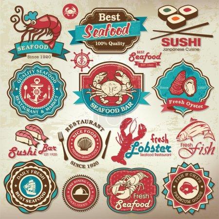 Illustration pour Collection d'étiquettes de restaurant de fruits de mer grunge rétro vintage, les écussons et les icônes - image libre de droit