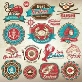 Collection of vintage retro grunge seafood restaurant labels badges and icons