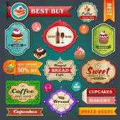 Collection of vintage retro bakery labels badges and ribbons