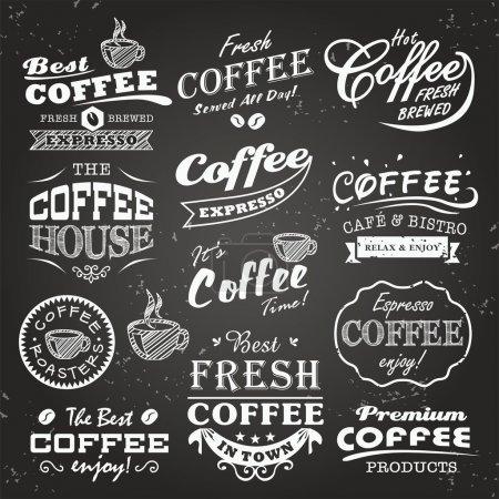 Photo pour Collection de croquis de cafés, étiquettes et typographie sur fond de tableau - image libre de droit