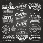 Collection of coffee shop sketches labels and typography design on a chalkboard background