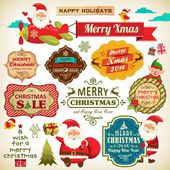 Set of Santa Claus Christmas elf with vintage labels ornaments and icon elements for Christmas