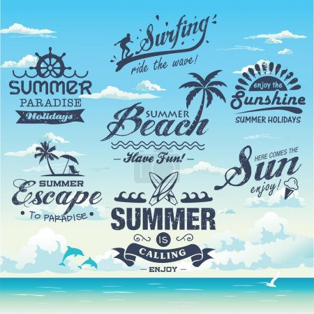 Collection of vintage retro grunge summer labels, labels, badges and icons