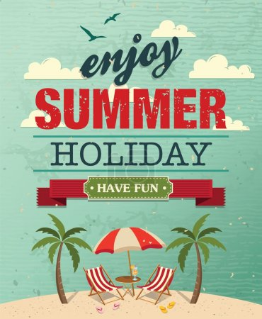 Illustration for Summer beach vector background in retro style - Royalty Free Image
