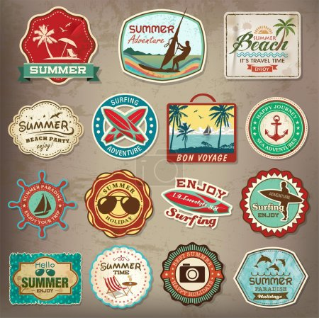 Illustration for Collection of vintage retro grunge summer labels, labels, badges and icons - Royalty Free Image