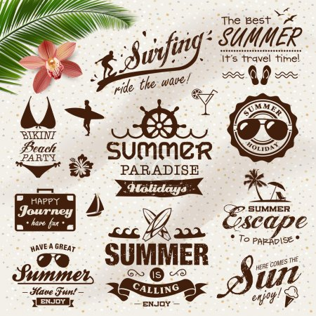 Vintage summer design with labels, icons elements collection