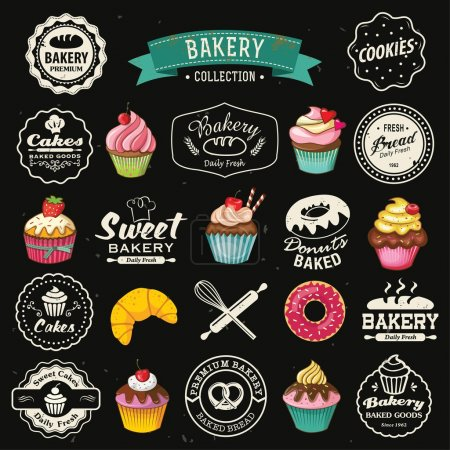 Collection of vintage retro bakery badges and labels on chalkboard. Hand lettering style with cupcakes, croissants, donuts, breads, pretzel and cookies.