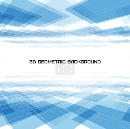 Illustration for 3D Geometric blue background - Royalty Free Image