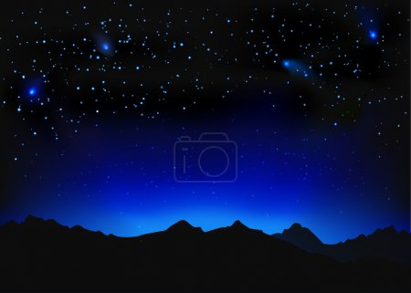 Illustration for Beautiful night space landscape with silhouette mountains and stars - Royalty Free Image