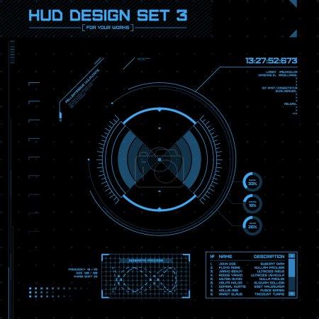 Illustration pour HUD et GUI réglés. Interface utilisateur futuriste. Illustration vectorielle pour votre design - image libre de droit