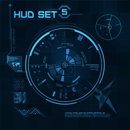 Illustration for HUD and GUI set. Futuristic User Interface. Vector illustration for your design - Royalty Free Image