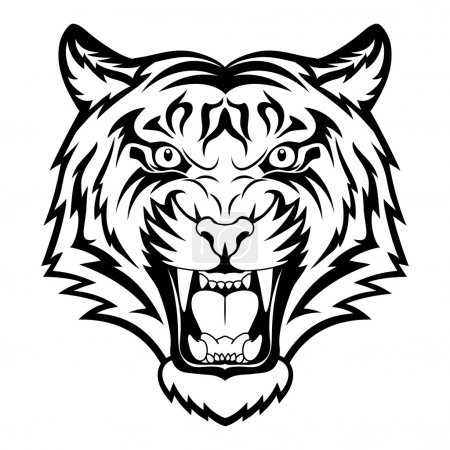 Illustration for Tiger anger. Black tattoo. Vector illustration of a tiger head. - Royalty Free Image