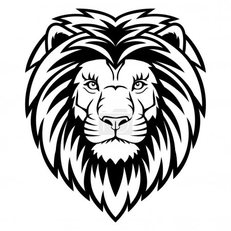 Illustration for A Lion head logo in black and white. This is vector illustration ideal for a mascot and tattoo or T-shirt graphic. - Royalty Free Image