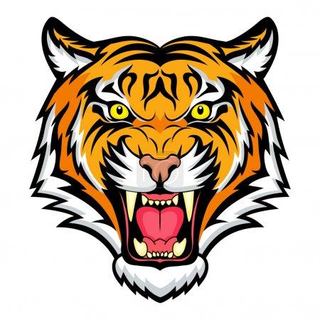 Illustration for Tiger anger. Vector illustration of a tiger head. - Royalty Free Image