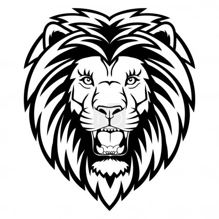Illustration for A Lion head logo. This is vector illustration ideal for a mascot and tattoo or T-shirt graphic. - Royalty Free Image