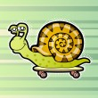 Cartoon snail skateboarder. Vector illustration....