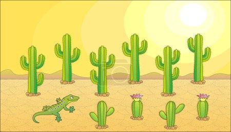 Cactus and lizard. Desert theme. Vector illustrati...