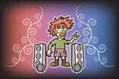 Funny rocker Super subwoofer Rock style Vector illustration