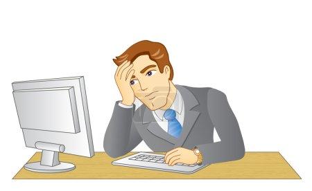 Illustration pour Un homme d'affaires qui travaille au bureau. Sur le lieu de travail. Homme frustré et fatigué. Illustration vectorielle . - image libre de droit