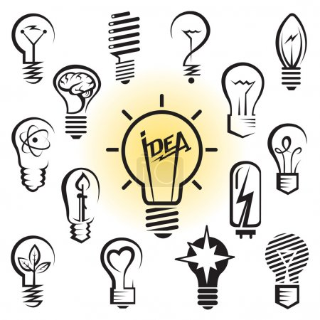Illustration for Vector icons set of light bulbs - Royalty Free Image