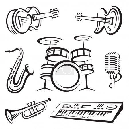 Illustration pour Ensemble monochrome d'instruments de musique - image libre de droit