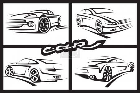 Illustration pour Ensemble de quatre voitures monochromes - image libre de droit