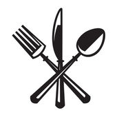 Monochrome illustrations set of knife fork and spoon