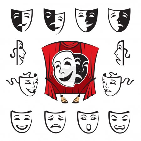 Illustration pour Illustration isolée avec ensemble de masques théâtraux - image libre de droit