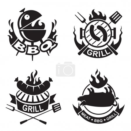 Illustration for Set of four barbecue banners - Royalty Free Image