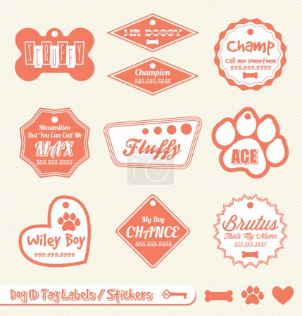 Vector Set: Dog and Pet ID Tag Labels and Stickers