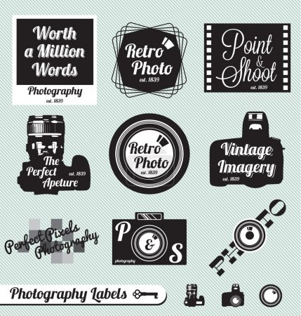Vector Set: Photography an Camera Labels and Stickers